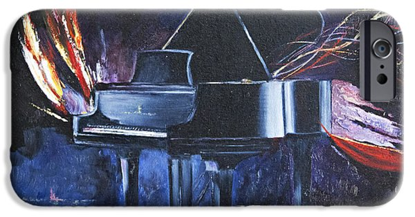 Grand Piano Paintings iPhone Cases - Midnight Sonata iPhone Case by Jan Black