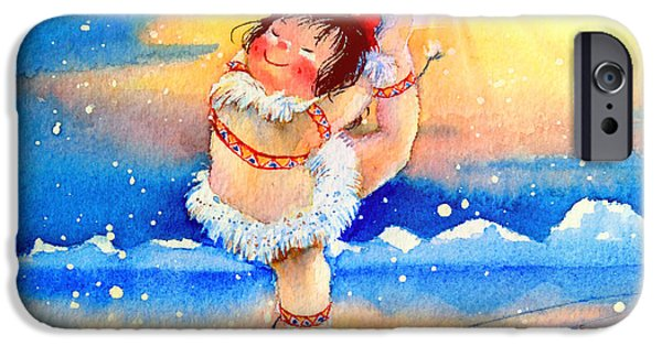 Kids Sports Art iPhone Cases - Midnight Sun Figure Skater iPhone Case by Hanne Lore Koehler