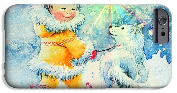 Huskies iPhone Cases - Midnight Sun Friends iPhone Case by Hanne Lore Koehler