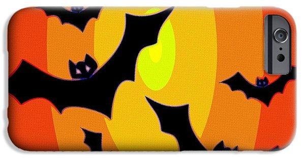 Bat Digital Art iPhone Cases - Midnight Sunset iPhone Case by Florian Rodarte