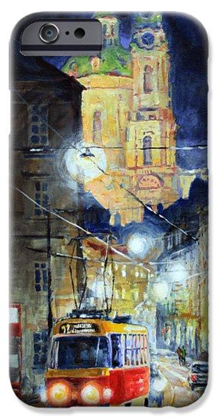 Tram iPhone Cases - Midnight Tram  Prague  Karmelitska str iPhone Case by Yuriy Shevchuk