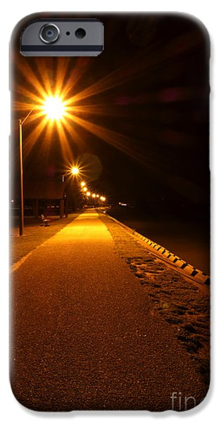 Waterfront Photographs iPhone Cases - Midnight Walk iPhone Case by Olivier Le Queinec