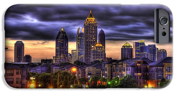 Technology iPhone Cases - Midtown Atlanta Towers Over Atlantic Commons iPhone Case by Reid Callaway