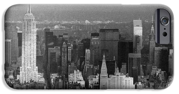 Twin Towers Nyc iPhone Cases - Midtown Manhattan 1980s iPhone Case by Gary Eason