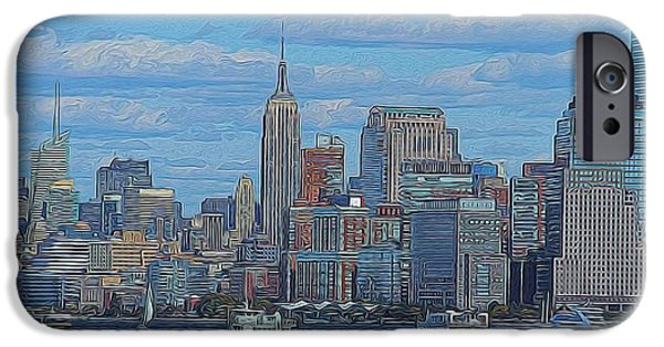 The Hills Mixed Media iPhone Cases - Midtown Manhattan iPhone Case by Dan Sproul