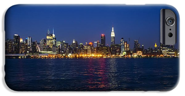 Hudson River Digital iPhone Cases - MidTown Manhattan Skyline View iPhone Case by Bill Cannon