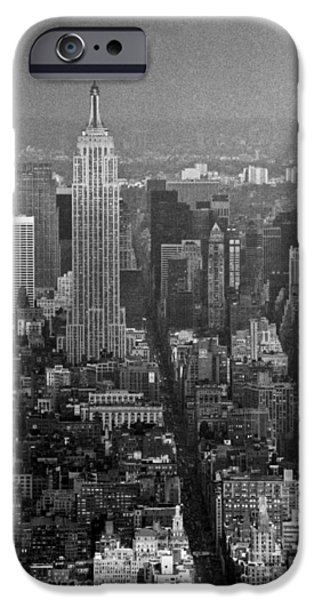 Twin Towers Nyc iPhone Cases - Midtown Manhattan winter 1980s iPhone Case by Gary Eason