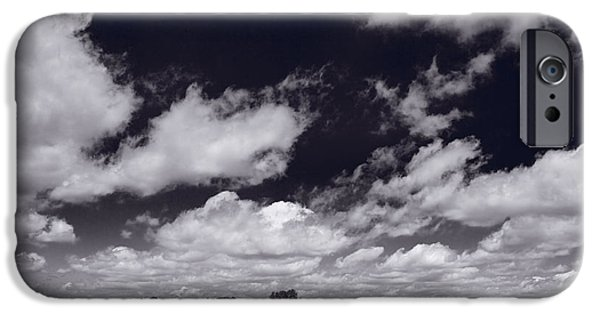 Field. Cloud iPhone Cases - Midwest Corn Field BW iPhone Case by Steve Gadomski