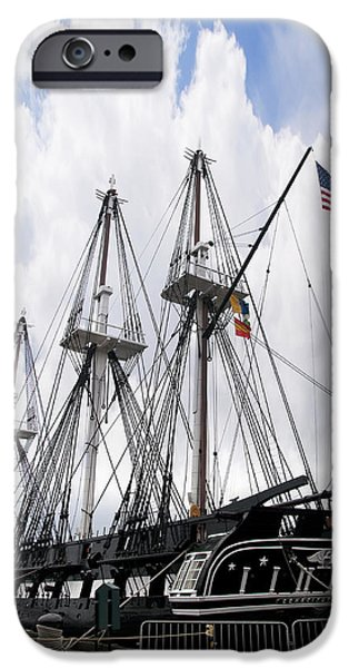 Constitution Party iPhone Cases - Mighty Ship of the Line in Boston iPhone Case by Brenda Kean