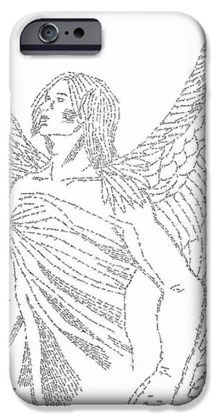 Angelic Drawings iPhone Cases - Mighty Warrior Angel iPhone Case by Lorraine Foster