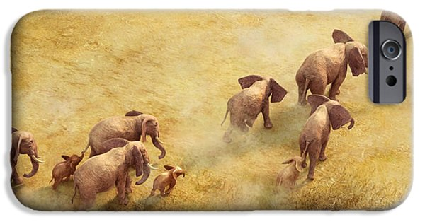 Elephants Paintings iPhone Cases - Migration of Giants iPhone Case by Gary Hanna