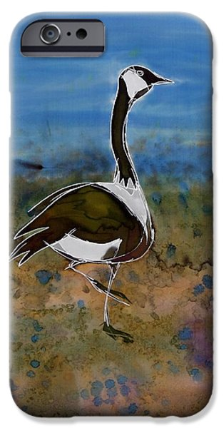Flight Tapestries - Textiles iPhone Cases - Migration Series Geese iPhone Case by Carolyn Doe