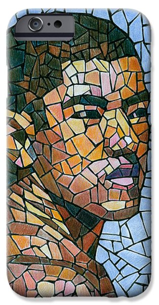 Color Drawings iPhone Cases - Mike in Mosaic iPhone Case by Douglas Simonson