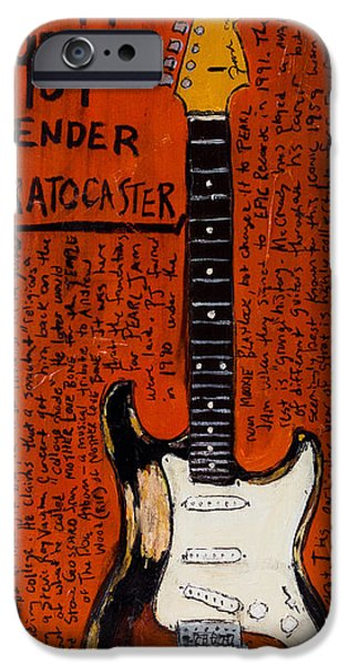 Fender Strat Paintings iPhone Cases - Mike McCready 1959 Strat iPhone Case by Karl Haglund