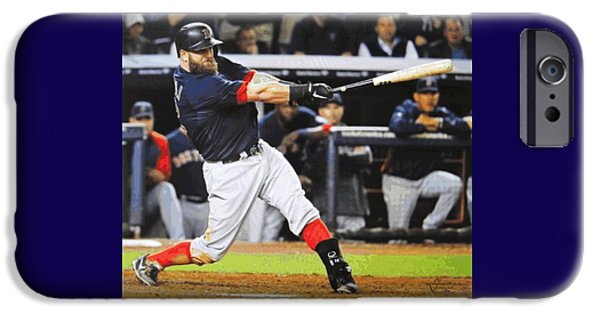 Dustin Pedroia iPhone Cases - Mike Napolis Grand Slam  iPhone Case by Dan Haraga