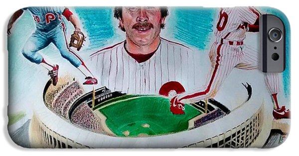 Philadelphia Phillies Stadium Mixed Media iPhone Cases - Mike Schmidt iPhone Case by Ezra Strayer