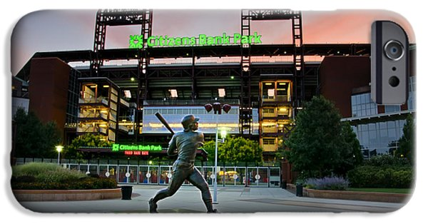 Philadelphia Phillies Stadium Digital iPhone Cases - Mike Schmidt Statue at Dawn iPhone Case by Bill Cannon