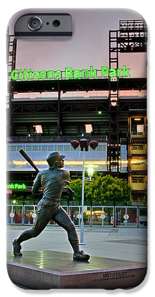 Mike Schmidt Statue at Dawn iPhone Case by Bill Cannon
