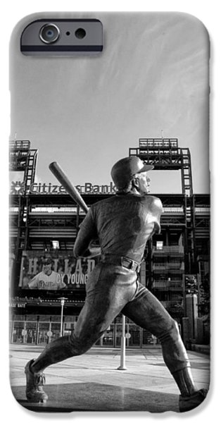 Philadelphia Phillies Stadium Digital iPhone Cases - Mike Schmidt Statue in Black and White iPhone Case by Bill Cannon