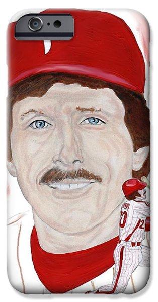 Baseball. Philadelphia Phillies Paintings iPhone Cases - Mike Schmidt iPhone Case by Steve Ramer