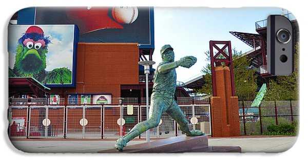 Baseball. Philadelphia Phillies iPhone Cases - Steve Carlton Statue - Phillies Citizens Bank Park iPhone Case by Bill Cannon