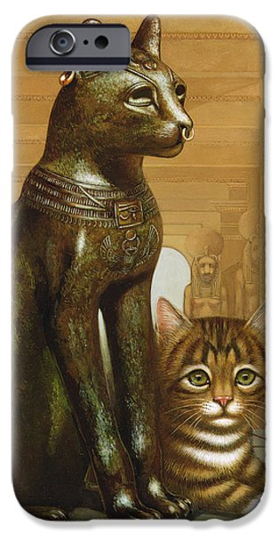 Hieroglyph iPhone Cases - Mike The British Museum Kitten, 1995 Oil & Tempera On Panel iPhone Case by Frances Broomfield