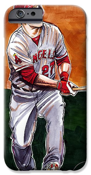 All Star Game iPhone Cases - Mike Trout iPhone Case by Dave Olsen