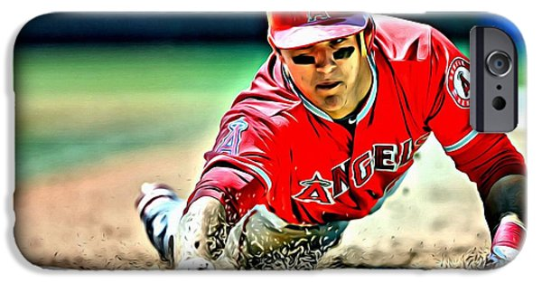 Baseball iPhone Cases - Mike Trout Painting iPhone Case by Florian Rodarte
