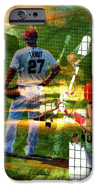 All Star Game iPhone Cases - Mike Trout iPhone Case by Robert Ball