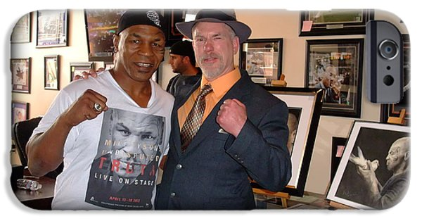 Boxer iPhone Cases - Mike Tyson and myself  at ManCave Memorabilia  iPhone Case by Jim Fitzpatrick