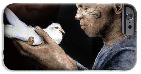Boxer iPhone Cases - Mike Tyson and Pigeon II iPhone Case by Jim Fitzpatrick