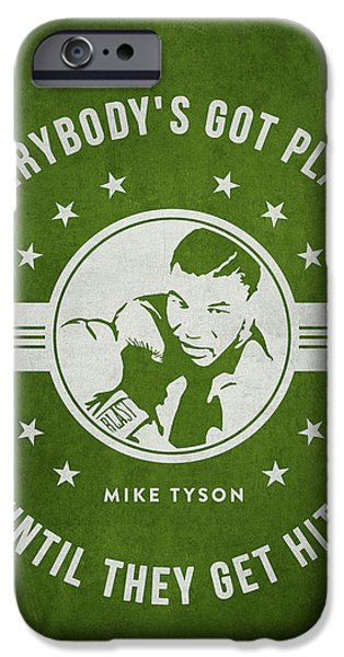 Heavyweight Digital Art iPhone Cases - Mike Tyson - Green iPhone Case by Aged Pixel