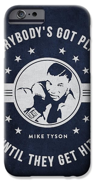 Heavyweight Digital Art iPhone Cases - Mike Tyson - Navy Blue iPhone Case by Aged Pixel