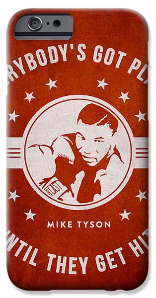 Heavyweight Digital Art iPhone Cases - Mike Tyson - Red iPhone Case by Aged Pixel
