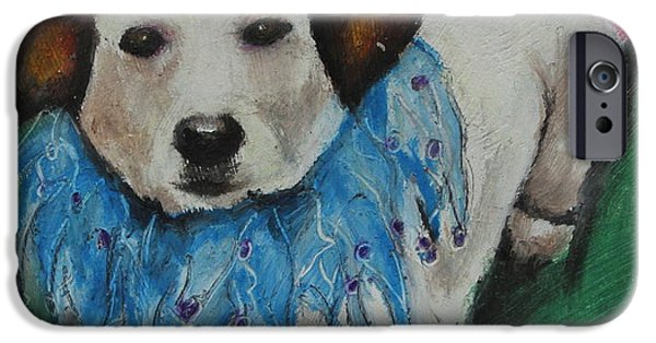 Puppy Pastels iPhone Cases - Mikey iPhone Case by Jeanne Fischer