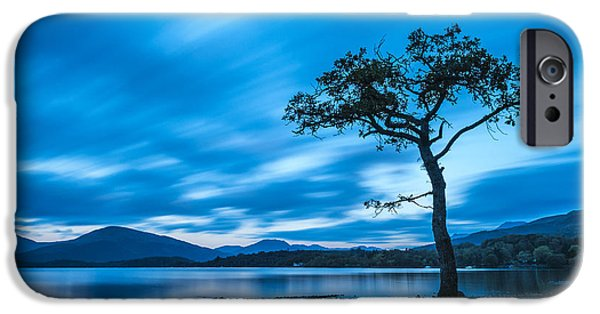 Bay Photographs iPhone Cases - Lone tree Milarrochy Bay iPhone Case by Janet Burdon
