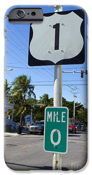 Jason O. Watson iPhone Cases - Mile Zero Key West US Hwy 1 iPhone Case by Jason O Watson