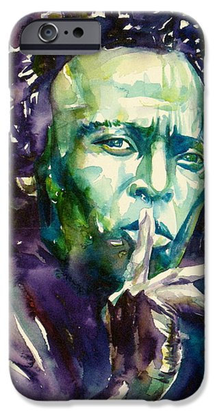 Miles Davis iPhone Cases - MILES DAVIS watercolor portrait.2 iPhone Case by Fabrizio Cassetta