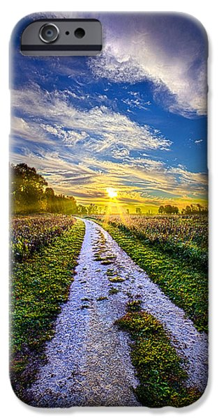 Country Dirt Roads iPhone Cases - Miles on my Heart iPhone Case by Phil Koch