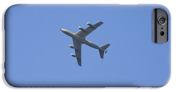 Military Airplanes iPhone Cases - Military Tanker Airplane Flying In Blue Sky  iPhone Case by Keith Webber Jr