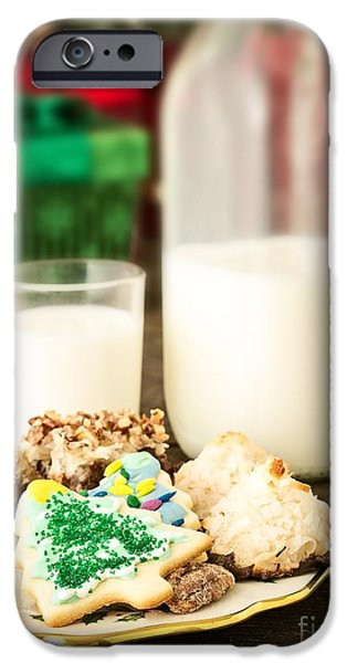 Christmas Greeting iPhone Cases - Milk and Cookies iPhone Case by Edward Fielding