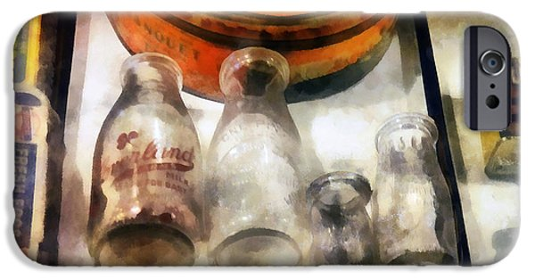 Bottlecaps iPhone Cases - Milk Bottles in Dairy Case iPhone Case by Susan Savad