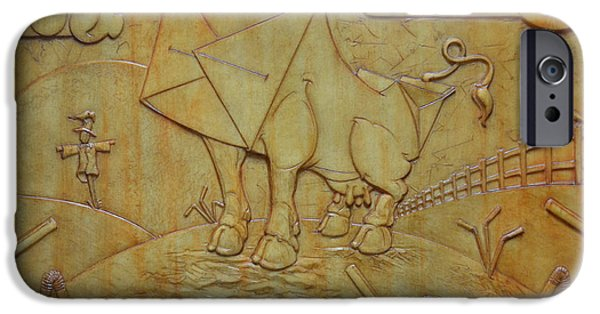 Relief Sculpture Reliefs iPhone Cases - Milk Cow iPhone Case by Jeremiah Welsh
