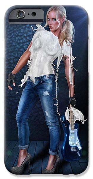 Gitarre iPhone Cases - Milk Dress - Rockstar Girl Lights iPhone Case by Rod Meier