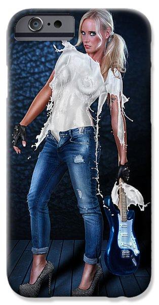 Gitarre iPhone Cases - Milk Dress - Rockstar Girl iPhone Case by Rod Meier
