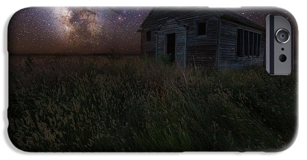 Abandoned School House. iPhone Cases - Milky Way and Decay iPhone Case by Aaron J Groen