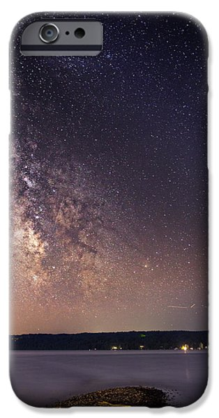 Taughannock Falls State Park iPhone Cases - Milky way on Cayuga Lake Ithaca New York iPhone Case by Paul Ge