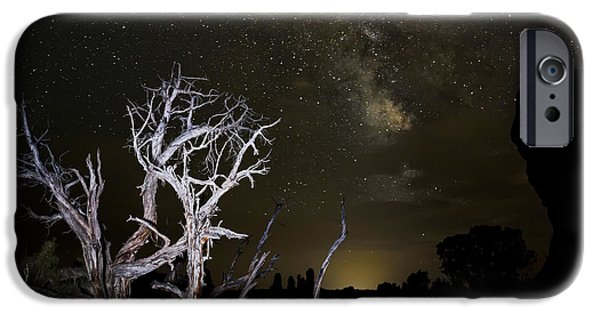 Stellar iPhone Cases - Milky Way over Arches National Park iPhone Case by Adam Romanowicz