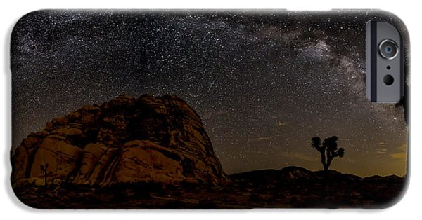 Astrophotography iPhone Cases - Milky Way over Joshua Tree iPhone Case by Peter Tellone