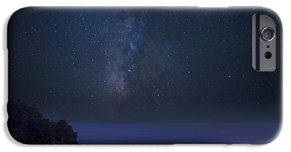 Big Sur Beach iPhone Cases - Milky Way over McWay Falls iPhone Case by Keith Kapple